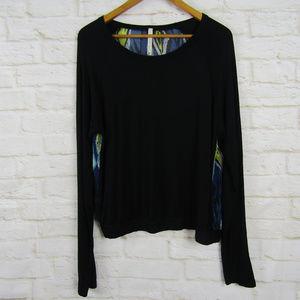 Paper Crane Long Sleeve Black Blouse Sheer Back L